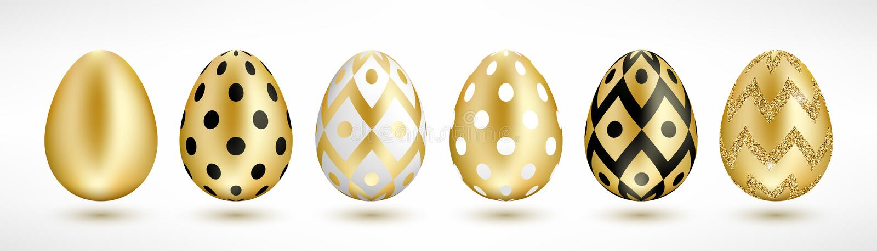 Insieme dorato delle uova di Pasqua illustrazione di stock