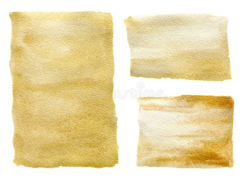 Insieme dorato di strutture dell'acquerello Bella illustrazione dipinta a mano per progettazione, la stampa, il tessuto o il fond royalty illustrazione gratis