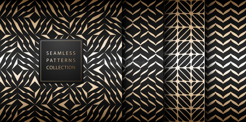 Insieme dorato geometrico del modello dell'elemento di vettore senza cuciture Struttura astratta dell'oro del fondo sul nero Stam illustrazione di stock