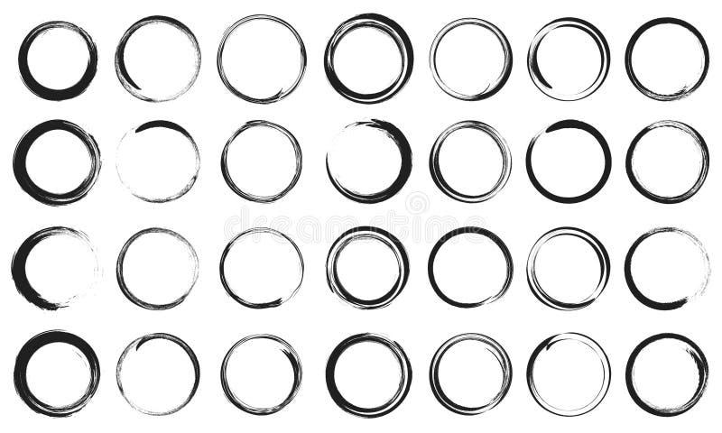 Insieme eccellente dei cerchi della struttura disegnata a mano di schizzo I giri scribacchiano la linea cerchi Illustrazioni di v illustrazione di stock