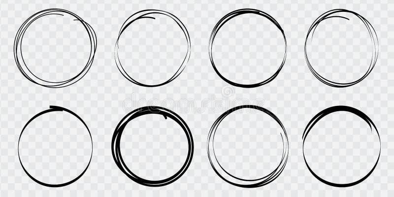 Insieme eccellente delle linee dei cerchi schizzare disegnato a mano Cerchi di scarabocchio per gli elementi di progettazione, me royalty illustrazione gratis