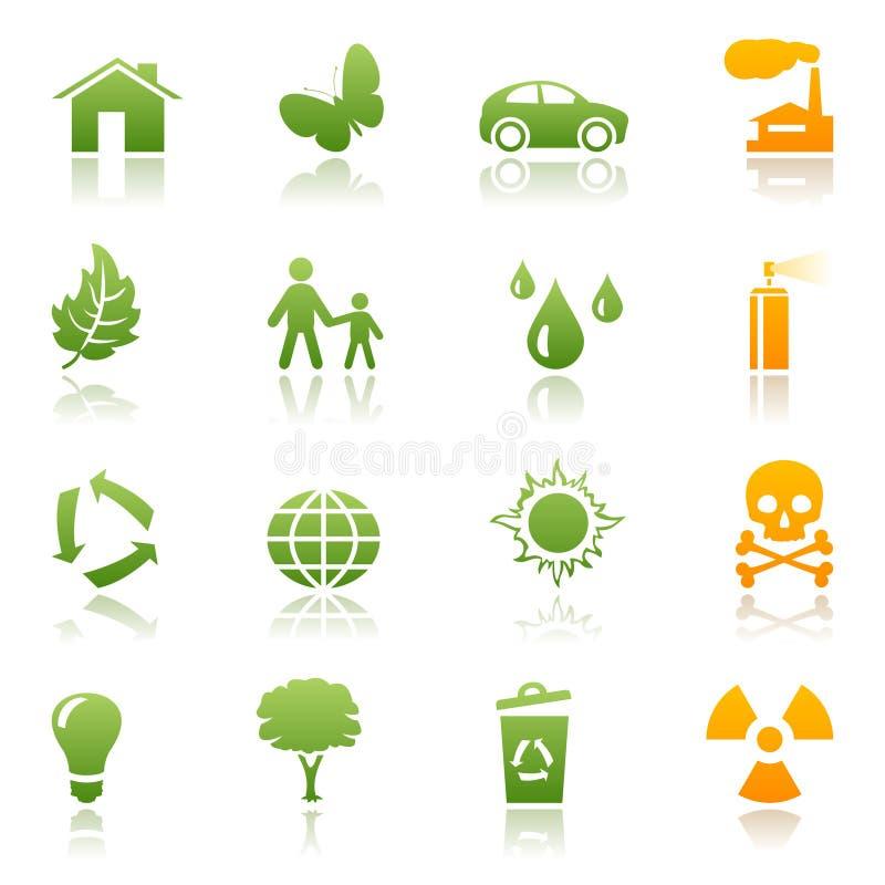 Insieme ecologico dell'icona illustrazione vettoriale