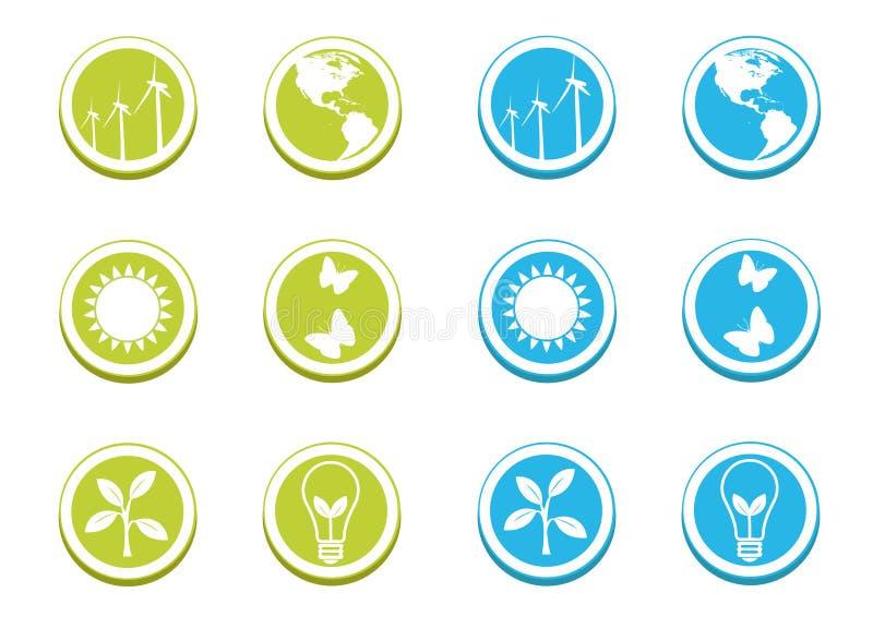 Insieme ecologico dell'icona illustrazione di stock