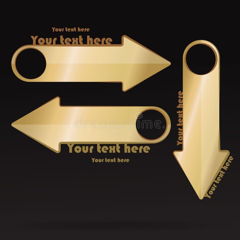 Insieme elegante di lusso della raccolta dorata delle frecce per le insegne e i flayers illustrazione di stock