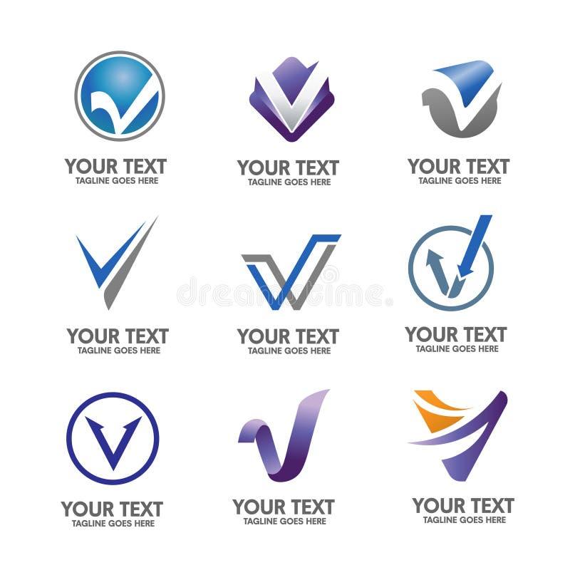 Insieme elegante di vettore di concetto di logo della lettera V illustrazione di stock