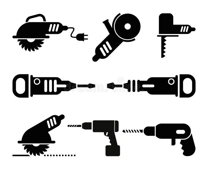 Insieme elettrico dell'icona di vettore degli strumenti illustrazione vettoriale