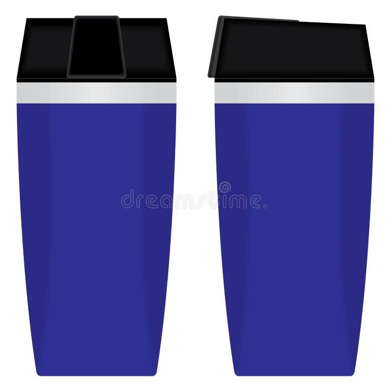 Insieme eliminabile blu della tazza isolato su fondo bianco illustrazione di stock