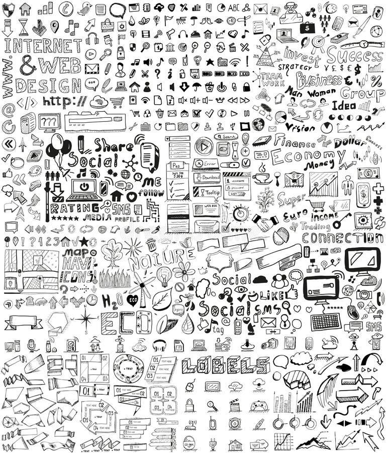 Insieme enorme degli elementi disegnati a mano illustrazione di stock