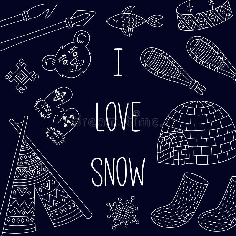 Insieme eschimese delle icone di inverno della neve royalty illustrazione gratis