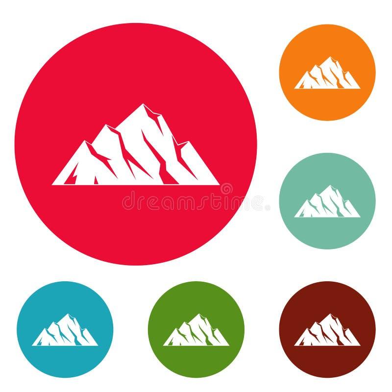 Insieme estremo del cerchio delle icone della montagna royalty illustrazione gratis