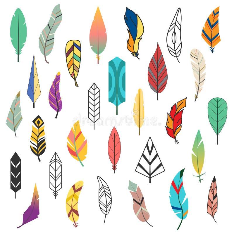 Insieme etnico variopinto d'annata della piuma dell'uccello differente piano tribale di stile e disegno decorativo isolato dell'e illustrazione vettoriale