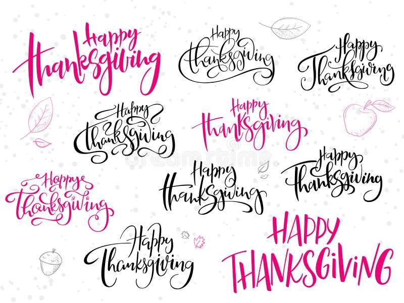 Insieme felice accogliente del testo di giorno di ringraziamento dell'iscrizione della mano di vettore, scritto in vari stili con illustrazione vettoriale