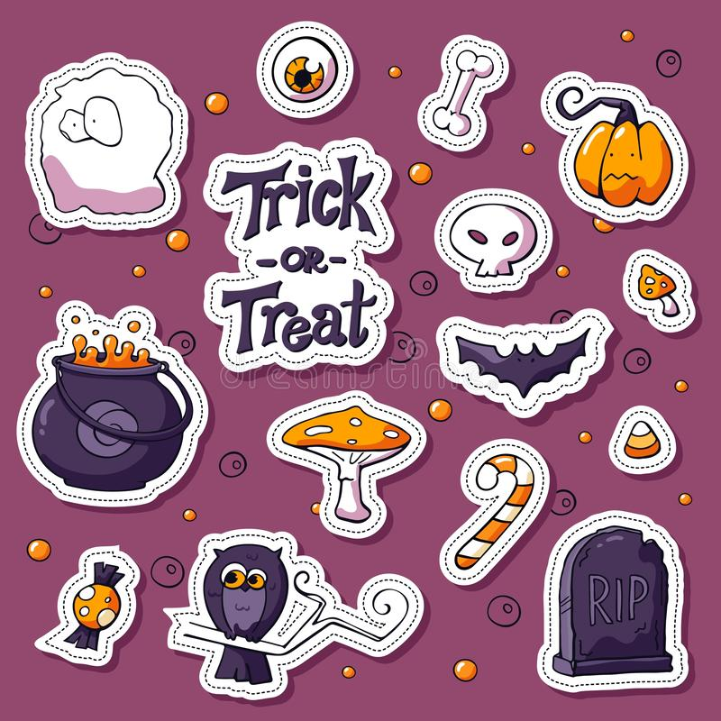 Insieme felice dell'autoadesivo del fumetto di Halloween Vaso disegnato a mano degli oggetti di vettore, pipistrello, cranio, fan royalty illustrazione gratis