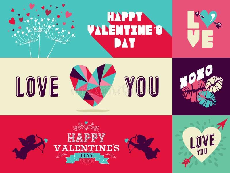 Insieme felice dell'insegna di web di giorno di biglietti di S. Valentino illustrazione vettoriale