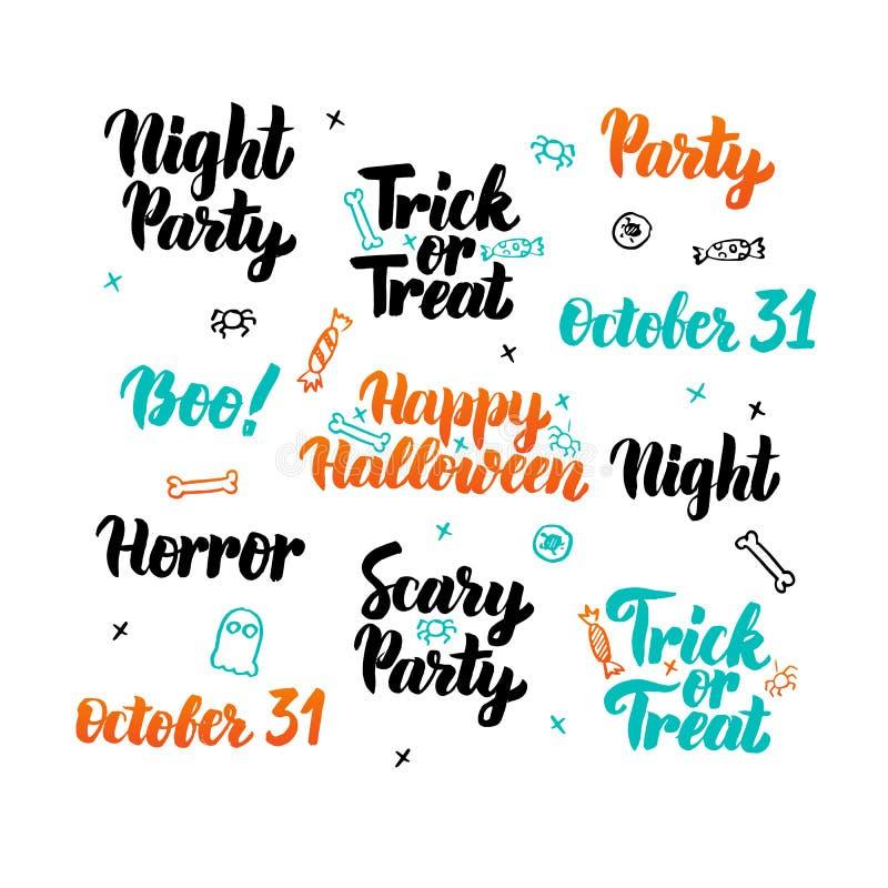 Insieme felice dell'iscrizione di Halloween illustrazione di stock