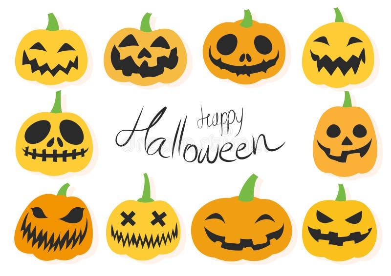 Insieme felice della lanterna della presa o di Halloween royalty illustrazione gratis