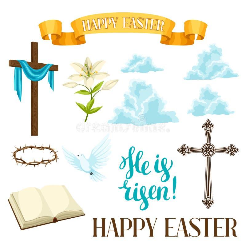 Insieme felice di Pasqua degli oggetti decorativi Simboli religiosi di fede royalty illustrazione gratis