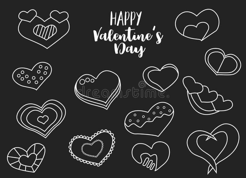 Insieme felice di tiraggio della mano di giorno di biglietti di S. Valentino dei cuori gessosi Lineart su un fondo nero illustrazione vettoriale