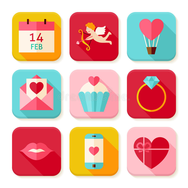 Insieme felice di Valentine Day Square App Icons royalty illustrazione gratis