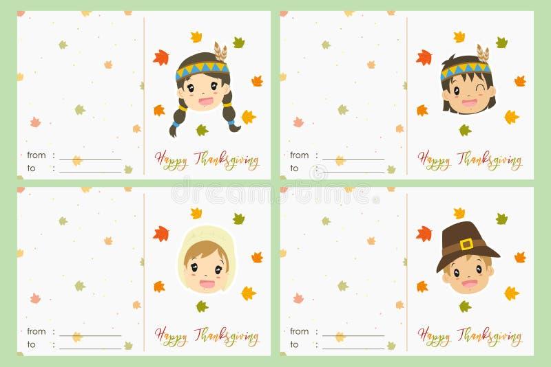 Insieme felice di vettore della carta di celebrazione di ringraziamento royalty illustrazione gratis