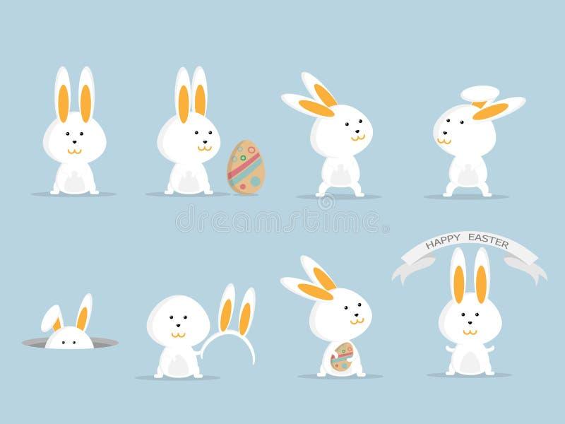 Insieme felice sveglio di pasqua del coniglietto o del coniglio illustrazione di stock