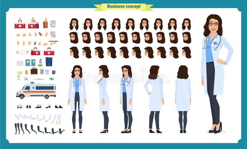 Insieme femminile della creazione del carattere di medico Parte anteriore, lato, carattere animato di vista posteriore Creazione  illustrazione vettoriale