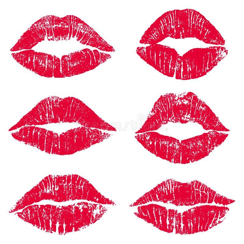 Insieme femminile della stampa di bacio delle labbra illustrazione di stock