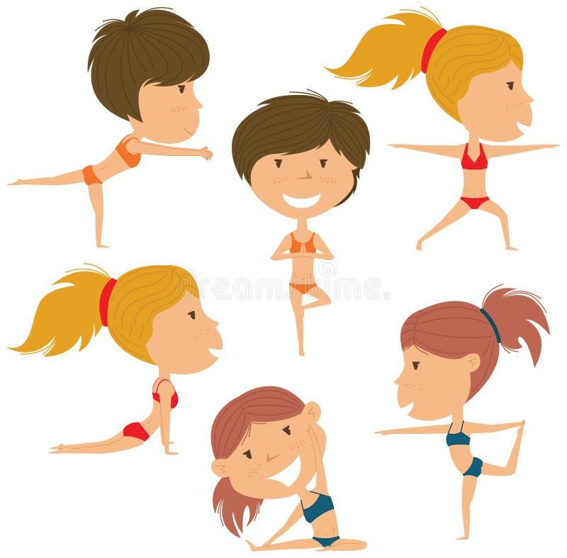 Insieme femminile di yoga illustrazione di stock