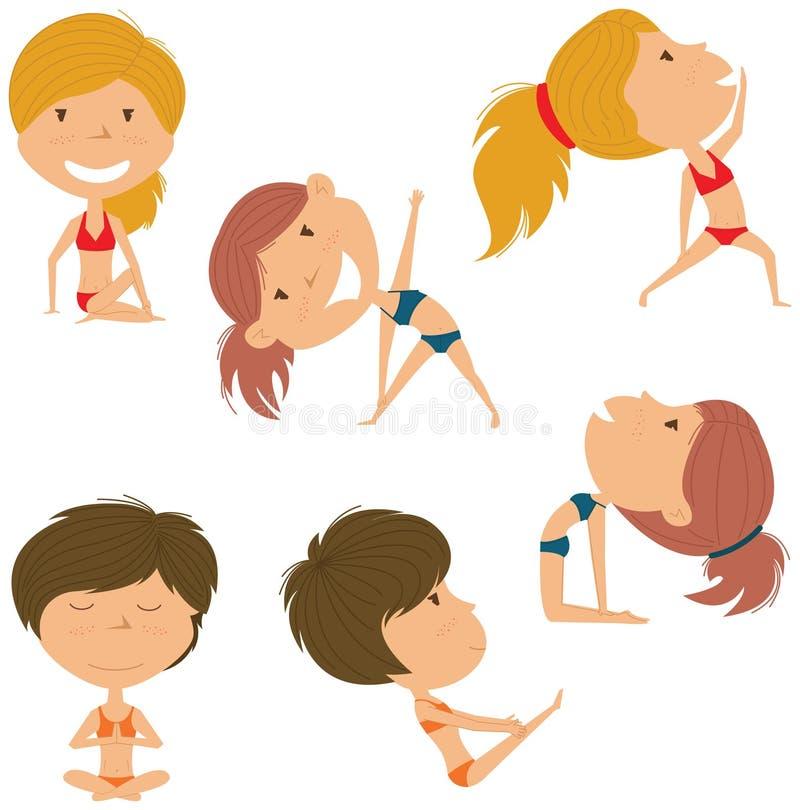 Insieme femminile di yoga illustrazione vettoriale