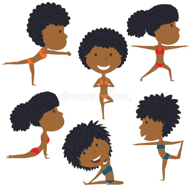 Insieme femminile di yoga royalty illustrazione gratis