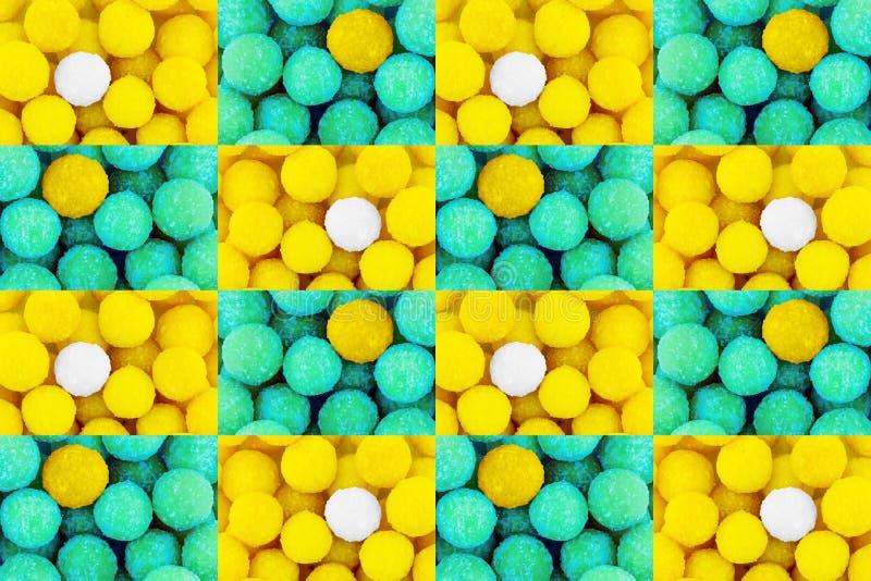 Insieme festivo variopinto del fondo del modello del modello giallo della caramella con il confetto bianco di verde del centro di immagine stock