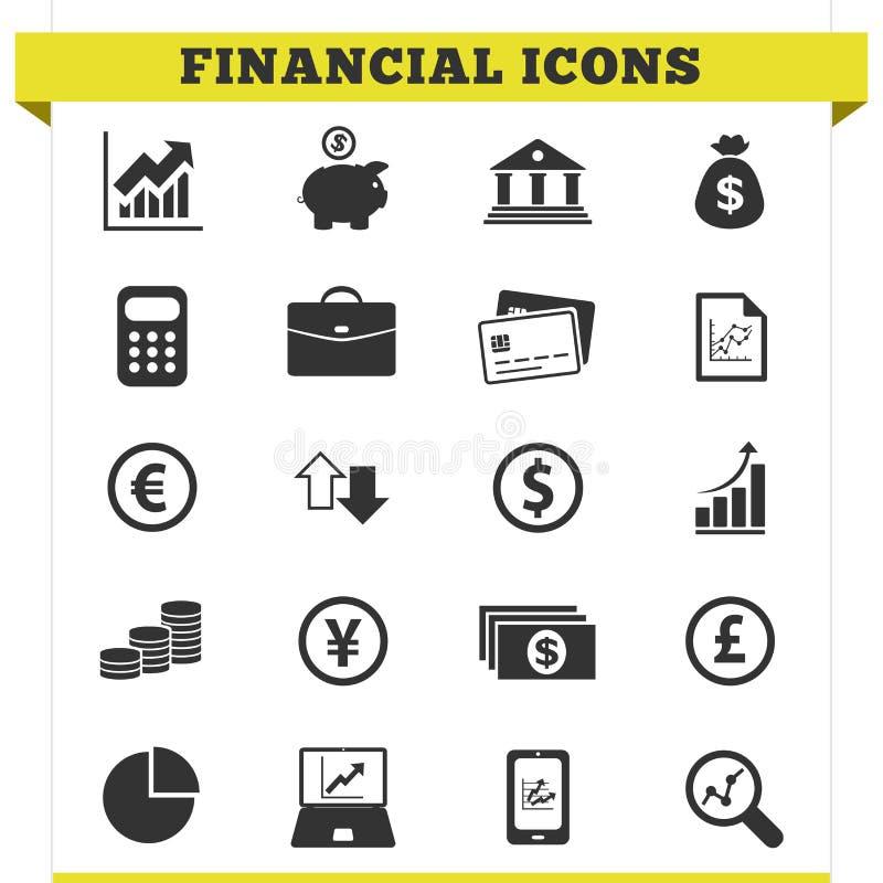 Insieme finanziario di vettore delle icone illustrazione di stock