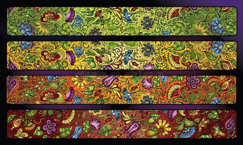 Insieme floreale decorativo del fondo della banda di fantasia illustrazione vettoriale