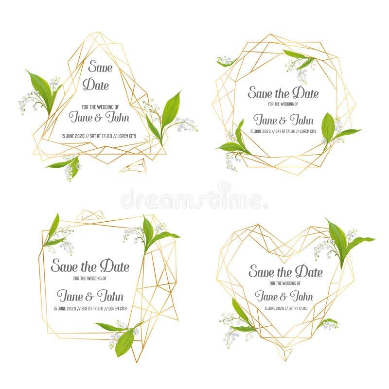 Insieme floreale del modello dell'invito di nozze Conservi le strutture della data con il posto per testo e Lily Valley Flowers C illustrazione di stock