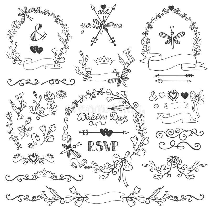 Insieme floreale della decorazione di scarabocchi Confini, corona, elementi illustrazione di stock