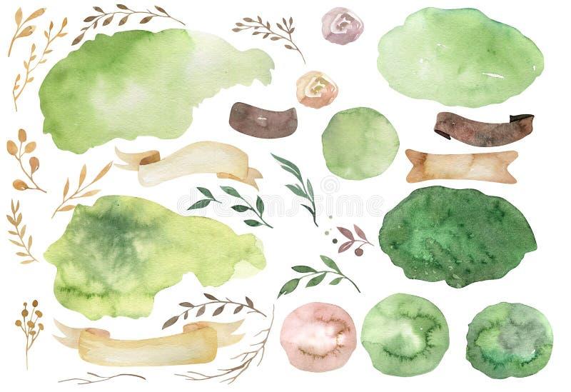 Insieme floreale di boho dell'acquerello Struttura naturale della Boemia: foglie, piume, fiori, isolati su fondo bianco artistico illustrazione vettoriale