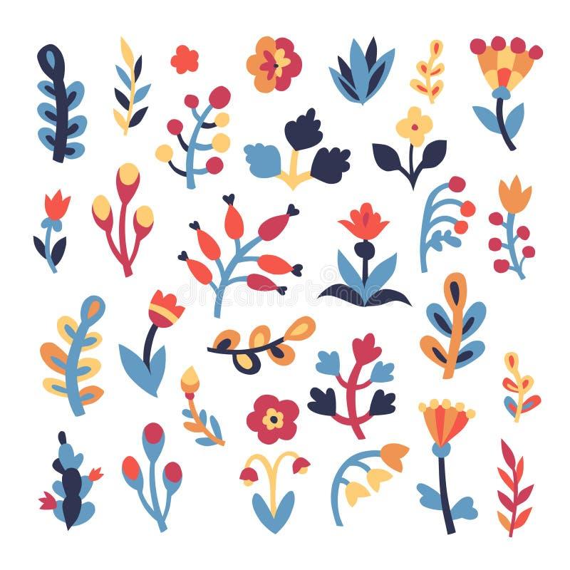 Insieme floreale sveglio royalty illustrazione gratis
