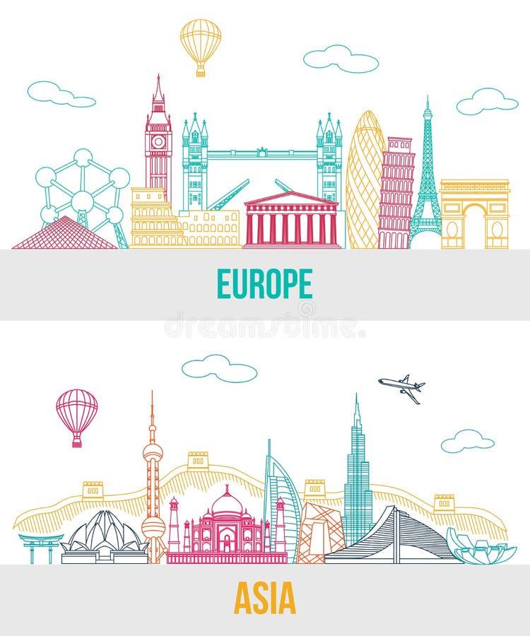 Insieme fondo di viaggio dell'Asia e di Europa con royalty illustrazione gratis