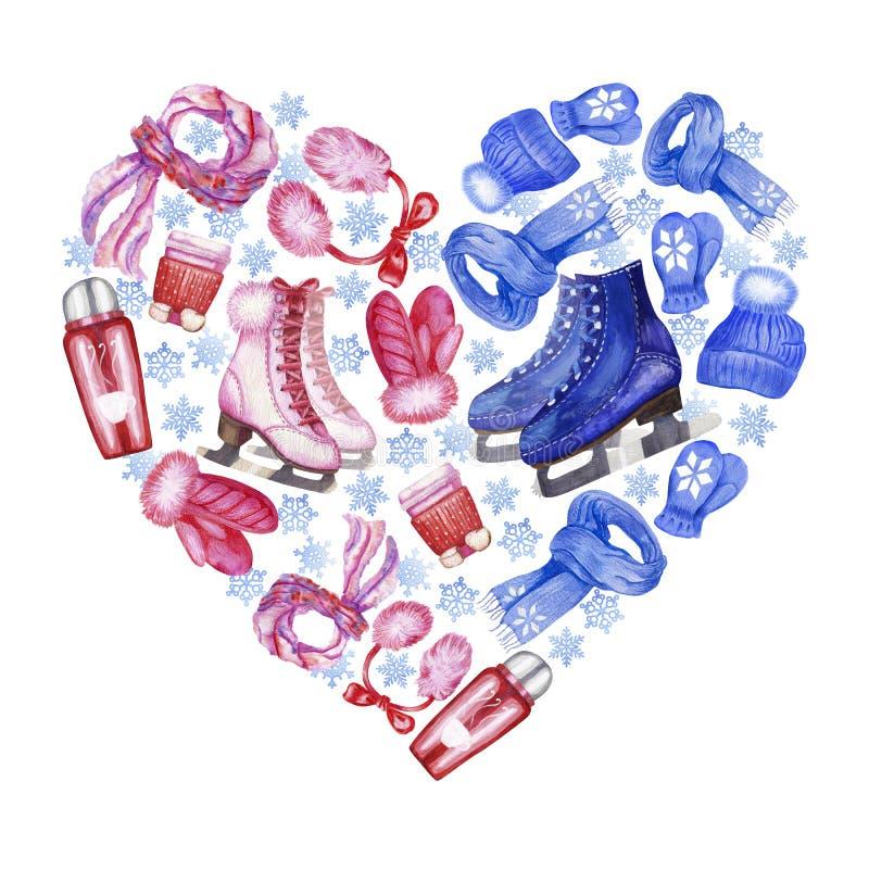 Insieme a forma di di pattinaggio su ghiaccio del cuore illustrazione di stock