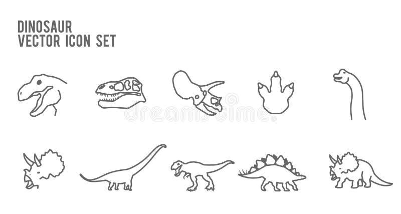 Insieme fossile di scheletro dell'icona di vettore del dinosauro royalty illustrazione gratis