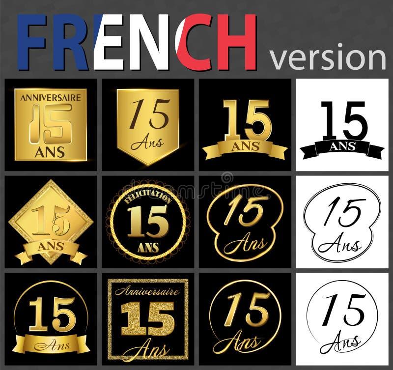 Insieme francese dei modelli di numero 15 royalty illustrazione gratis