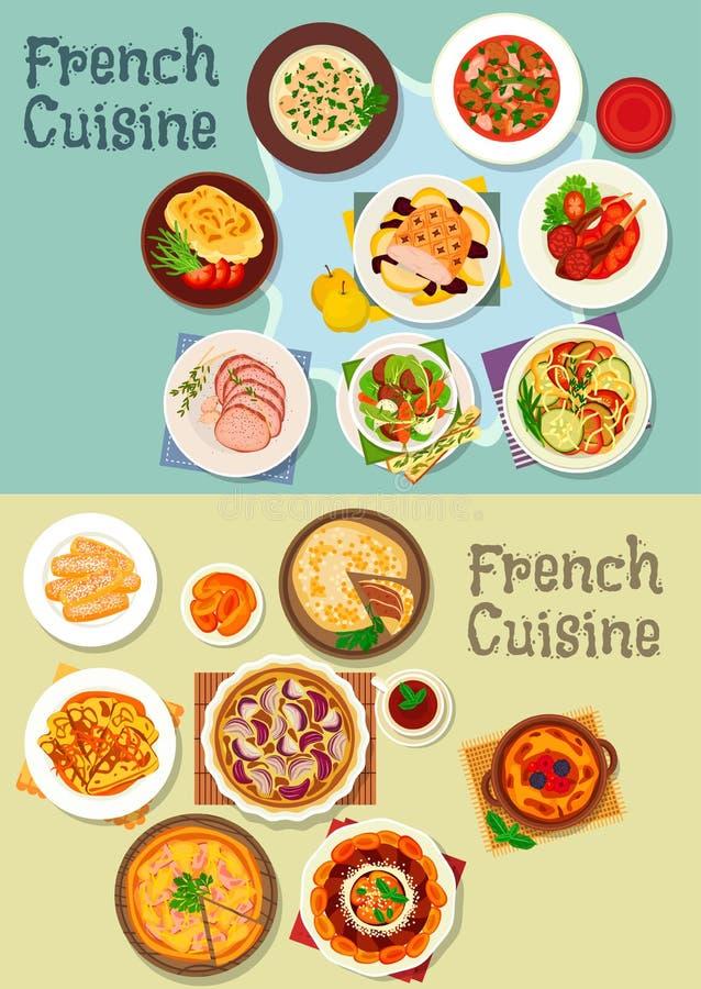 Insieme francese dell'icona dei piatti della carne e del dessert di cucina illustrazione vettoriale