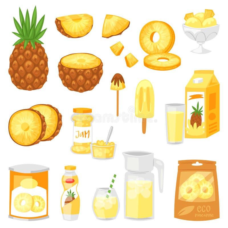 Insieme fruttato naturale giallo dell'illustrazione del gelato e del yogurt dell'inceppamento del succo di ananas sano fresco di  illustrazione vettoriale