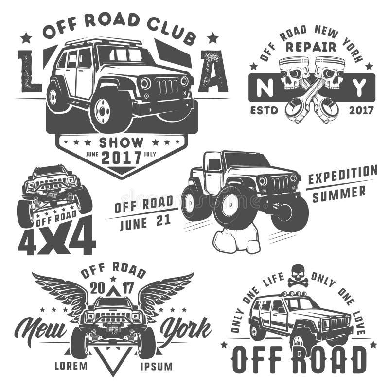 Insieme fuori dall'automobile della strada per gli emblemi, il logo, la progettazione e la stampa illustrazione vettoriale