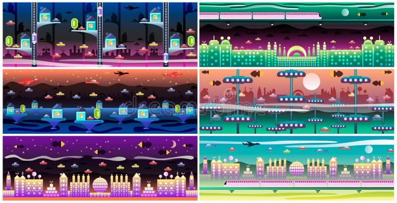 Insieme futuristico del paesaggio della città royalty illustrazione gratis