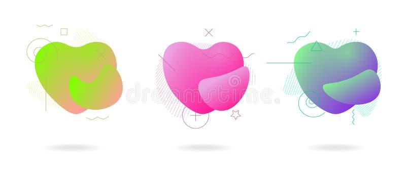 Insieme geometrico astratto di forme del cuore di amore della forma di colore liquido Onde variopinte astratte di plastica modern illustrazione di stock