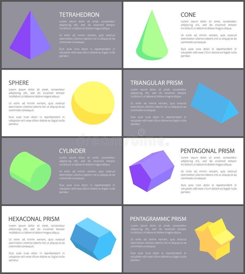 Insieme geometrico del cilindro e del tetraedro della sfera del cono royalty illustrazione gratis
