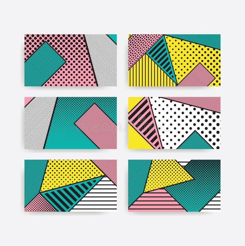 Insieme geometrico del modello di Pop art variopinto di tendenza illustrazione di stock