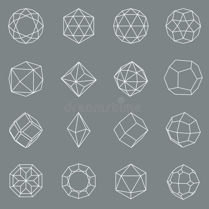 Insieme geometrico di cristallo di vettore di forme della gemma royalty illustrazione gratis