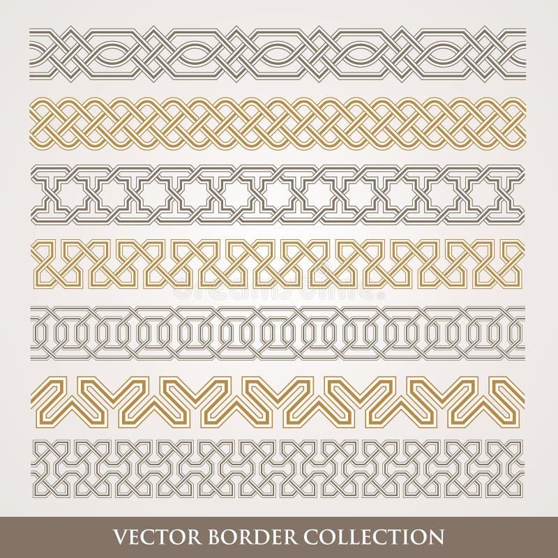 Insieme geometrico senza cuciture del confine di arabesque illustrazione vettoriale